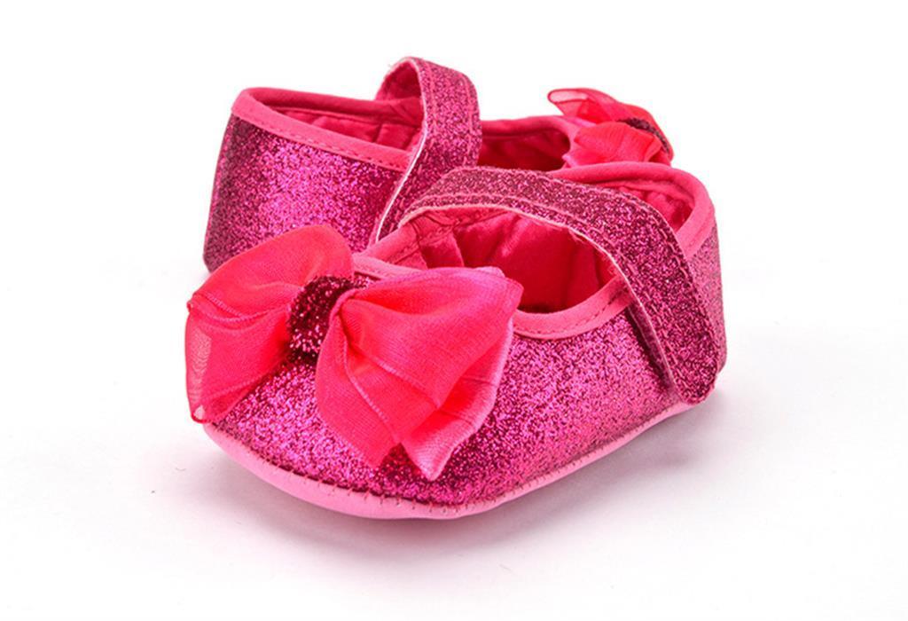 Fashion Baby Kids Girls Soft Sole Glitter Spring Shoes Fushcia 11