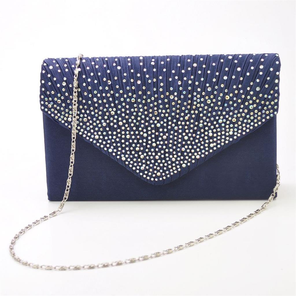 Womens Satin Diamante Clutch Shouler Bag Evening Bridal Handbag Deep Blue