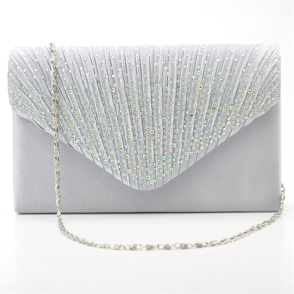 Womens Satin Diamante Clutch Shouler Bag Evening Bridal Prom Handbag Silver