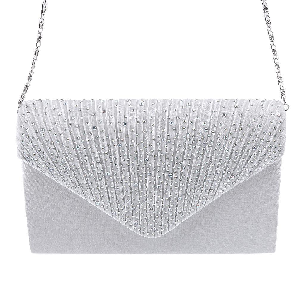 Womens Satin Diamante Clutch Shouler Bag Evening Bridal Prom Handbag White