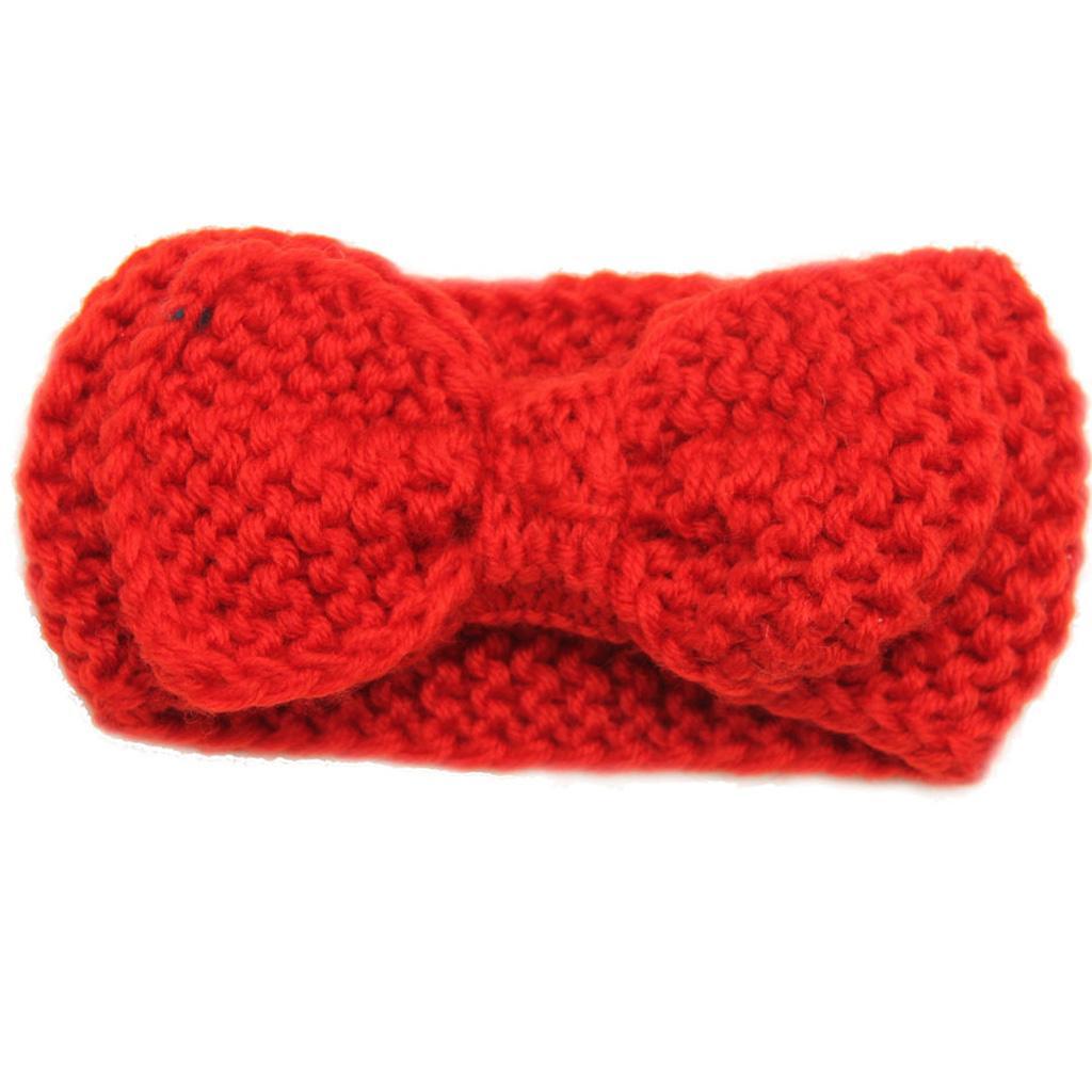 Infant Baby Girls Flower Elastic Crochet Hairbands Headband Photo Props Red