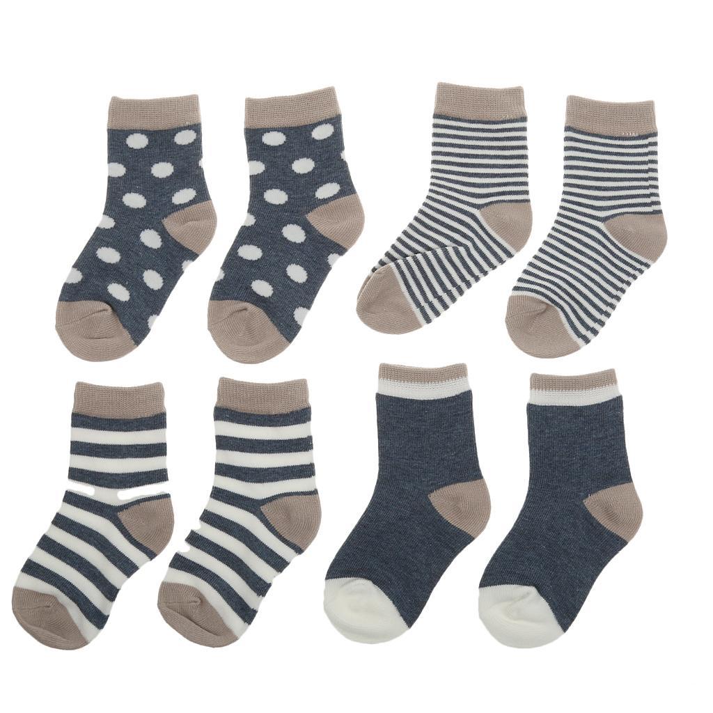 4 Pairs Baby Toddler Boys Girls Soft Cotton Socks Stripe Socks Grey S