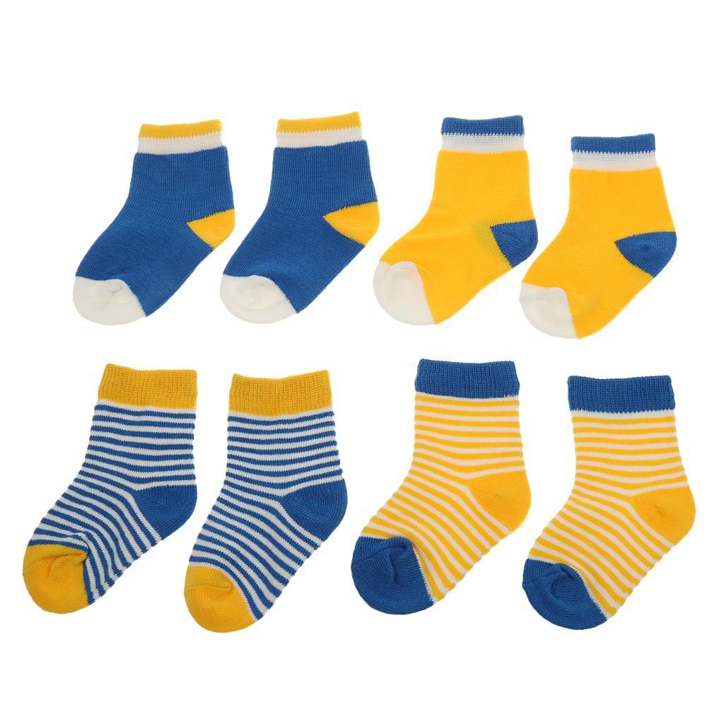 4 Pair Baby Toddler Boys Girls Soft Cotton Socks Stripe Socks Blue Yellow XS