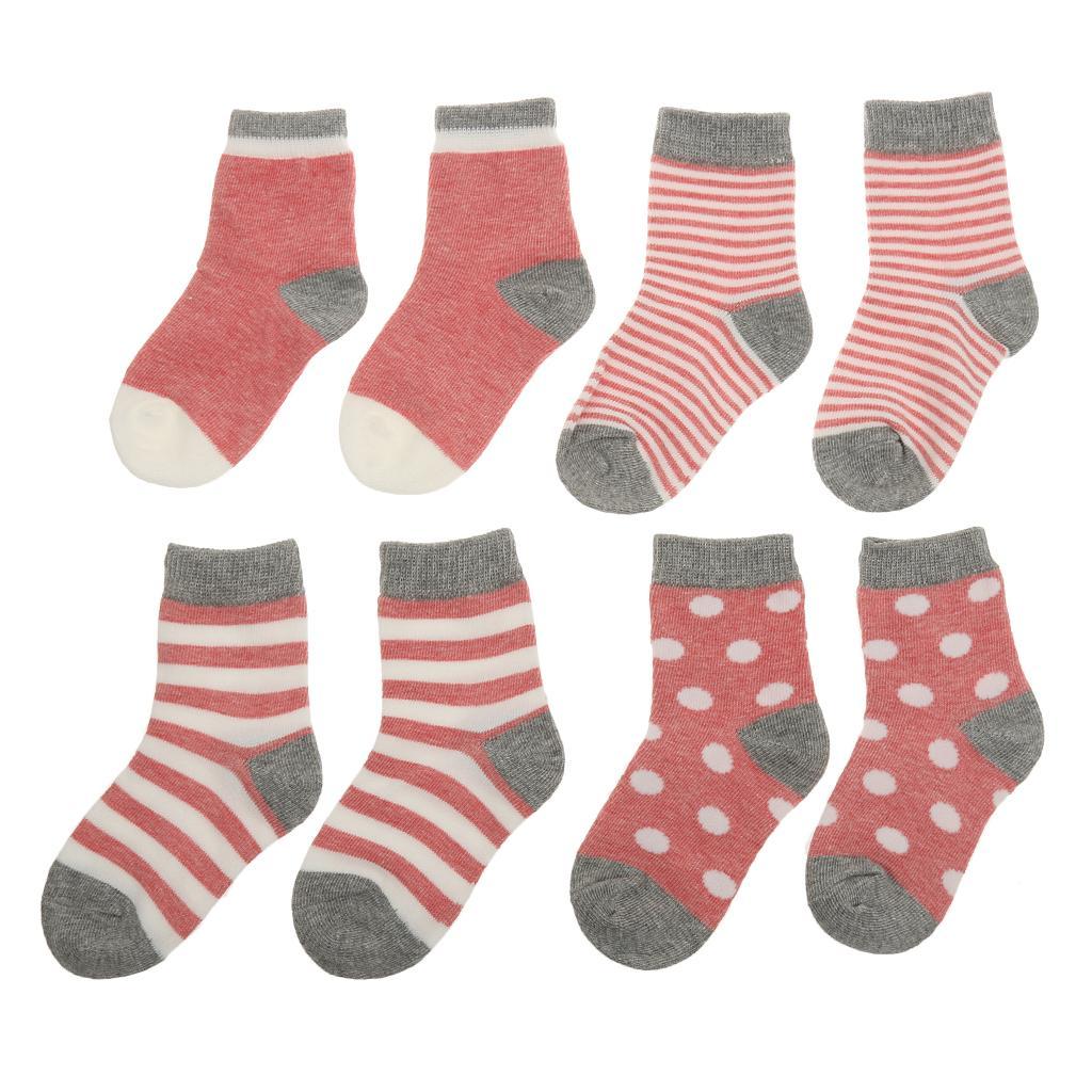 4 Pair Baby Toddler Boys Girls Soft Cotton Socks Stripe Socks Pink XS