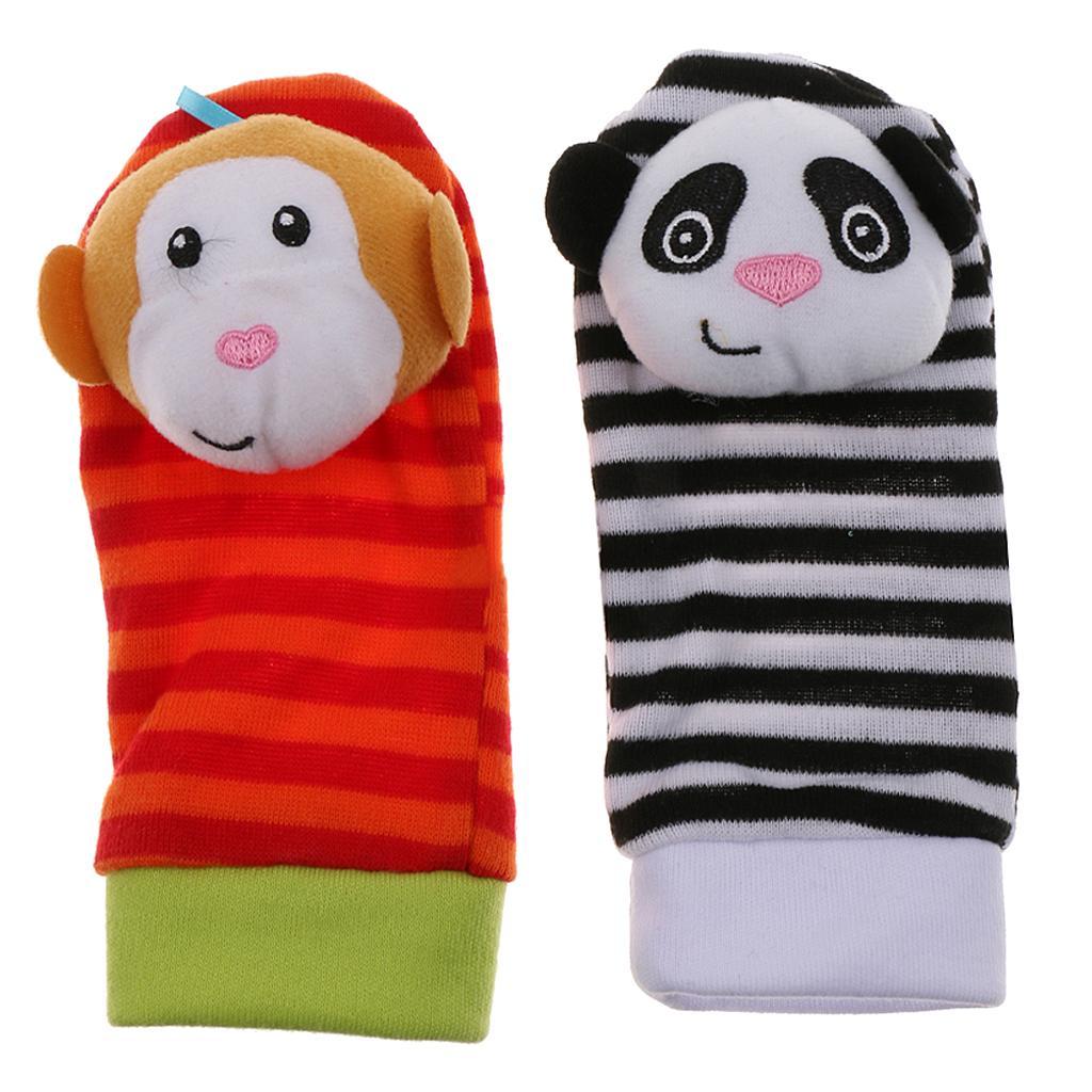 2 Pieces of  Infant Baby Soft Foot Socks Rattles Developmental Toy Monkey&Panda