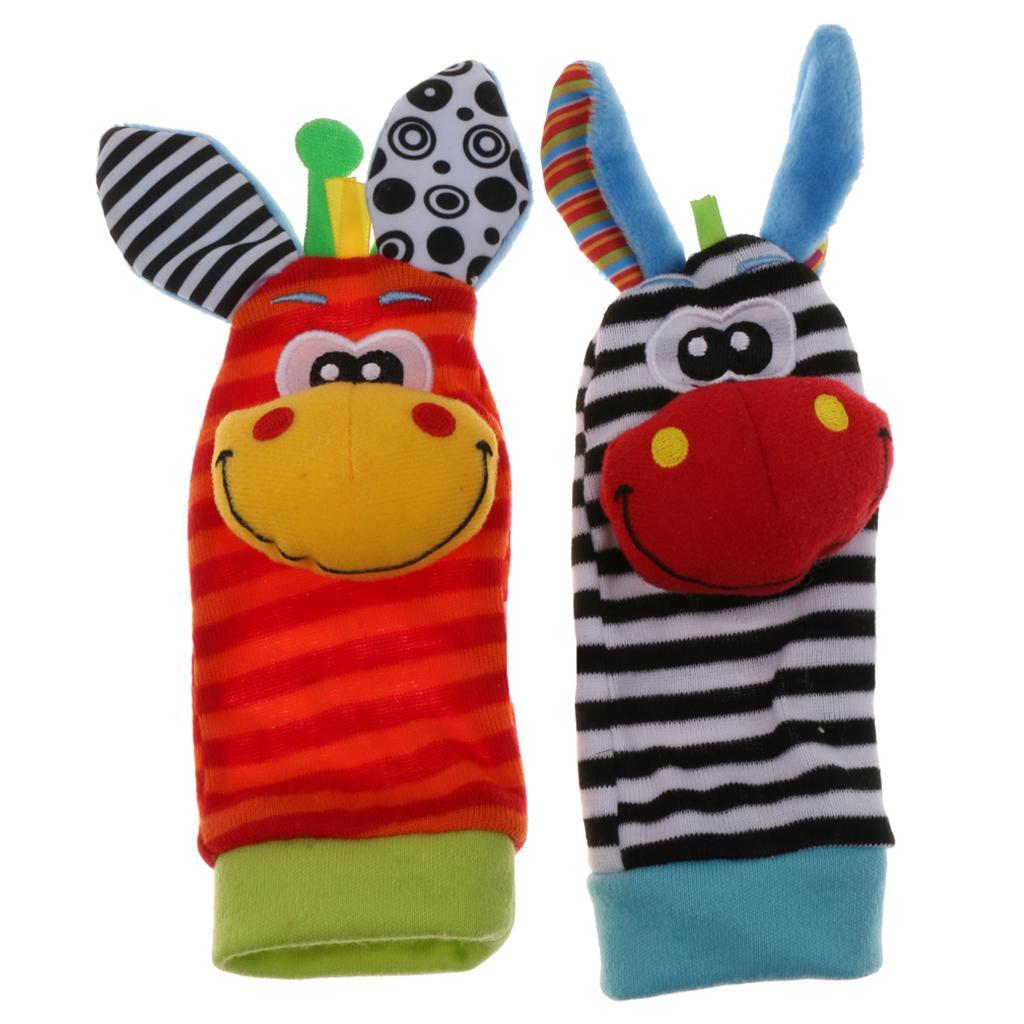 2 Pieces of  Infant Baby Soft Foot Socks Rattles Developmental Toy Giraffe&Zebra