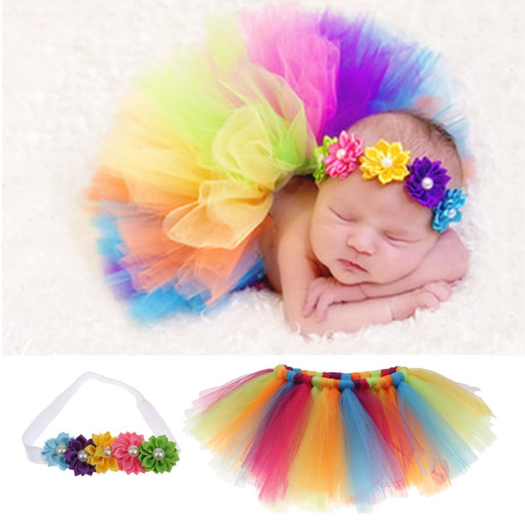 Newborn Baby Photography Prop Girs Headband+Rainbow Tutu Skirt Co...