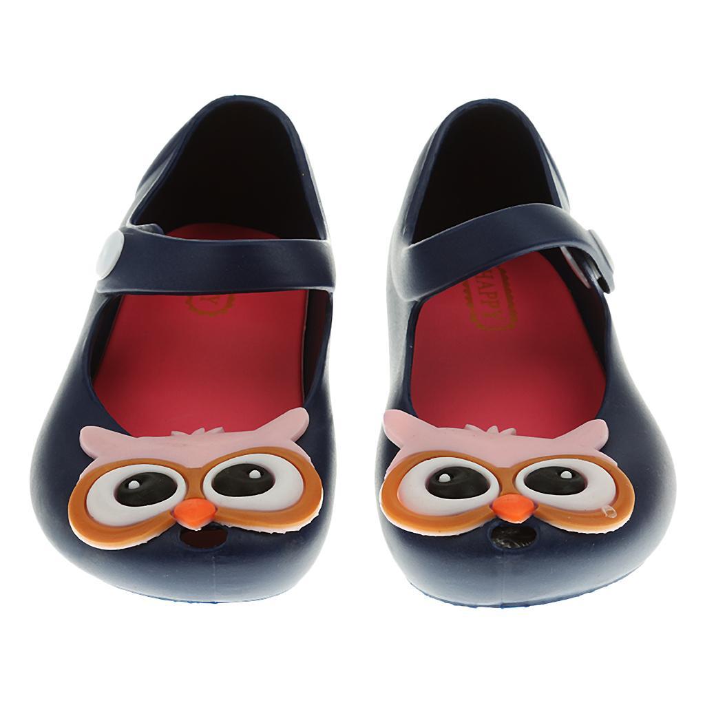Kids Girl Sandals Rain Shoe Owl Jelly Shoes Children Beach Shoes Blue 24