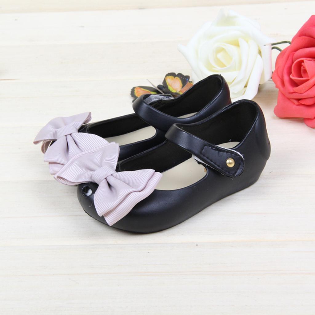 Kids Girl Sandals Rain Shoe Bow Jelly Shoes Children Beach Shoes Black 24