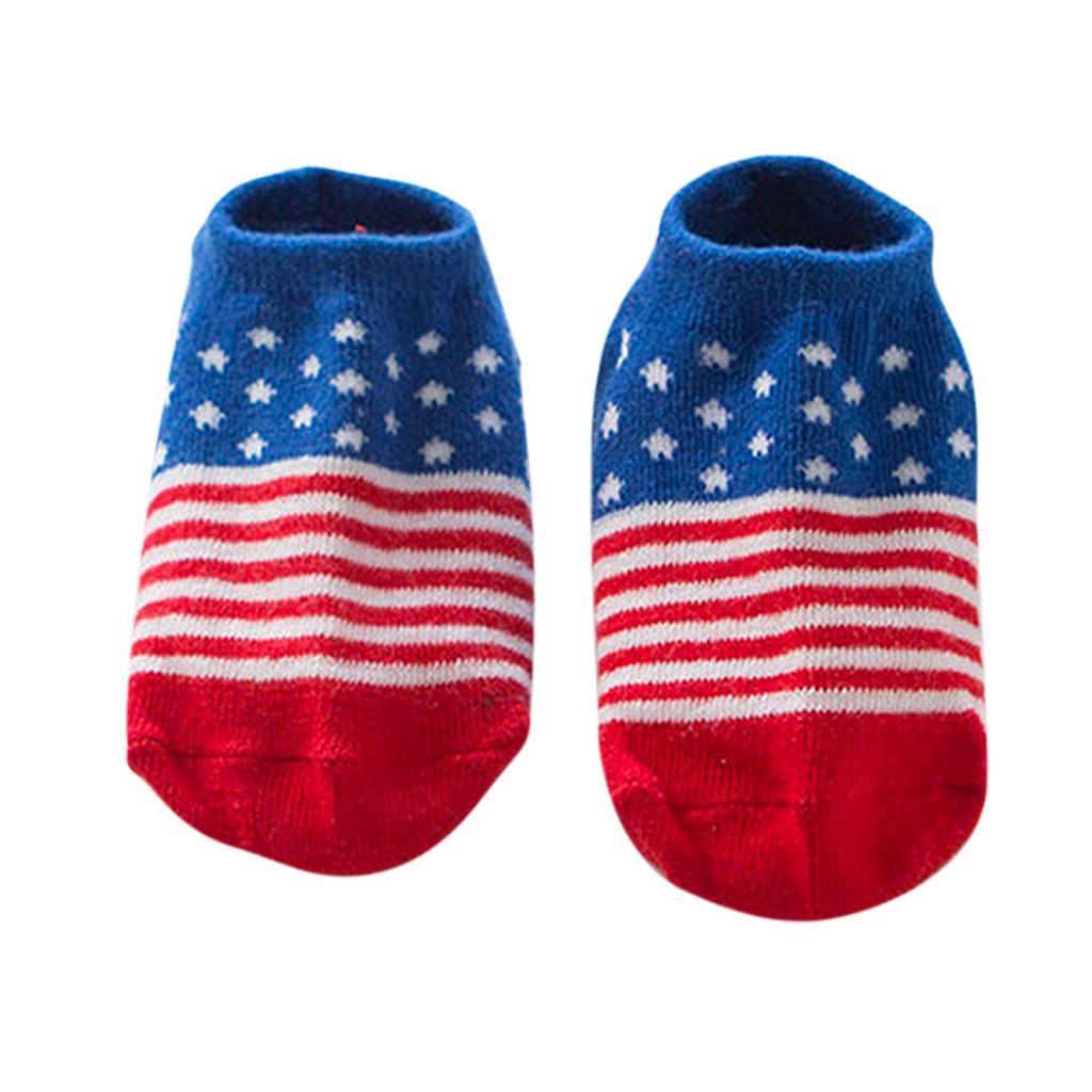 Pairs Kids Toddler Socks Boat Socks For Boys Girl 2-4 Years M American Flag