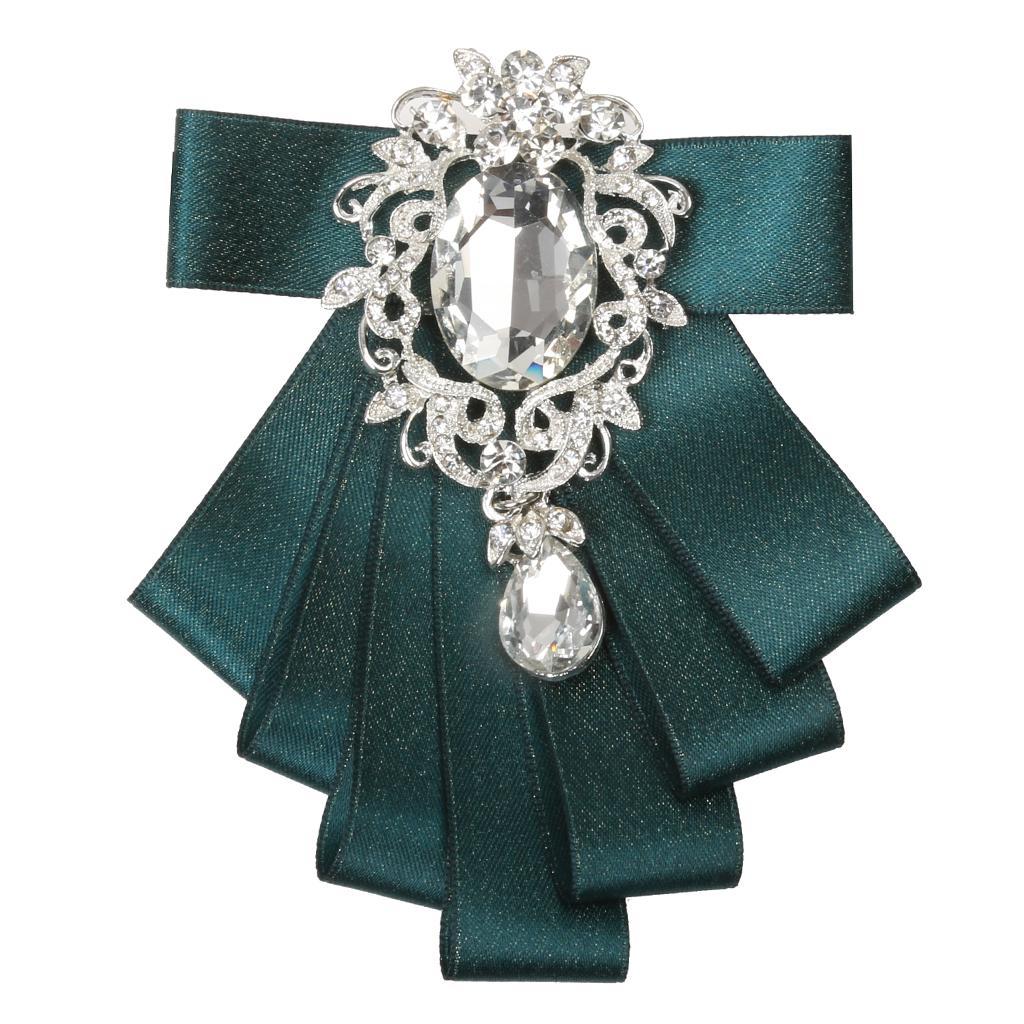 Men's Bridegroom Bow tie Wedding Party Dance Ribbon Diamand Neckwear Green