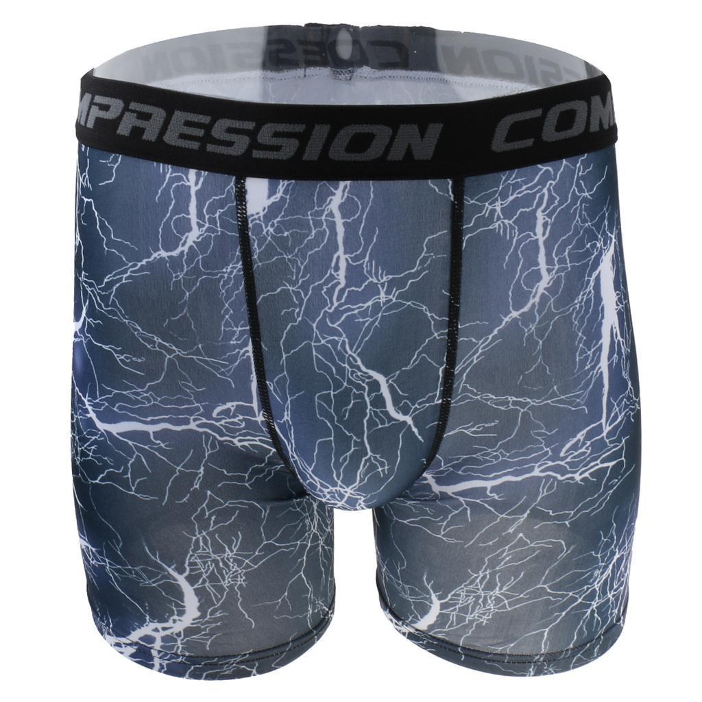 Mens High Elastic Printed Compression Shorts Fitness Sports Tights 1 XL