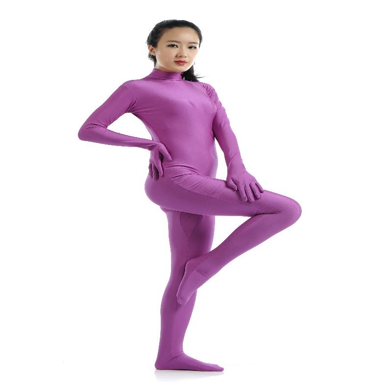 Lycra Spandex Full Body Zentai Suit Hoodless Zipper Dancewear Party Purple M