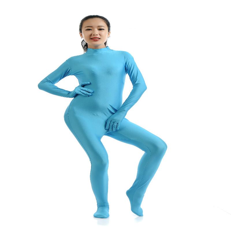 Lycra Spandex Full Body Zentai Suit Hoodless Zipper Dancewear Party sky XXL