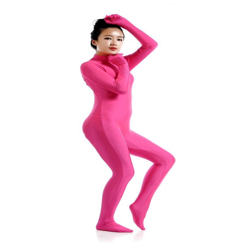 Lycra Spandex Full Body Zentai Suit Hoodless Zipper Dancewear Party Rose XXL