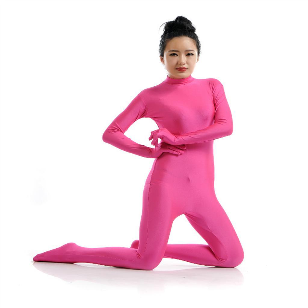 Lycra Spandex Full Body Zentai Suit Hoodless Zipper Dancewear Party Rose S