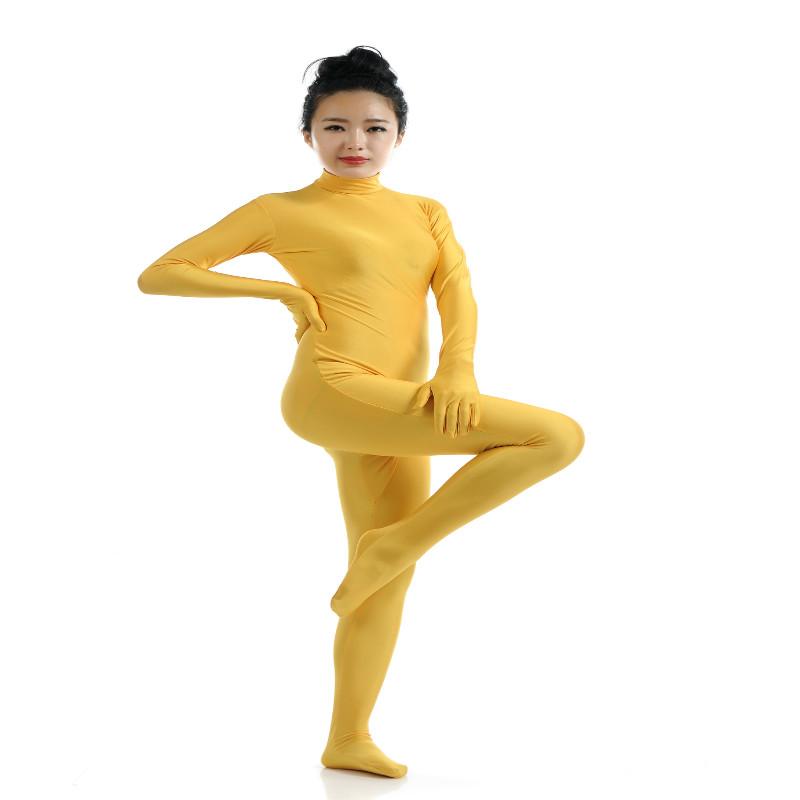 Lycra Spandex Full Body Zentai Suit Hoodless Zipper Dancewear Party Yel M