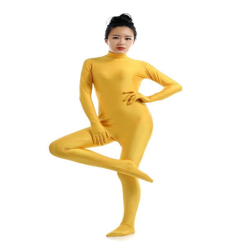 Lycra Spandex Full Body Zentai Suit Hoodless Zipper Dancewear Party Yel S