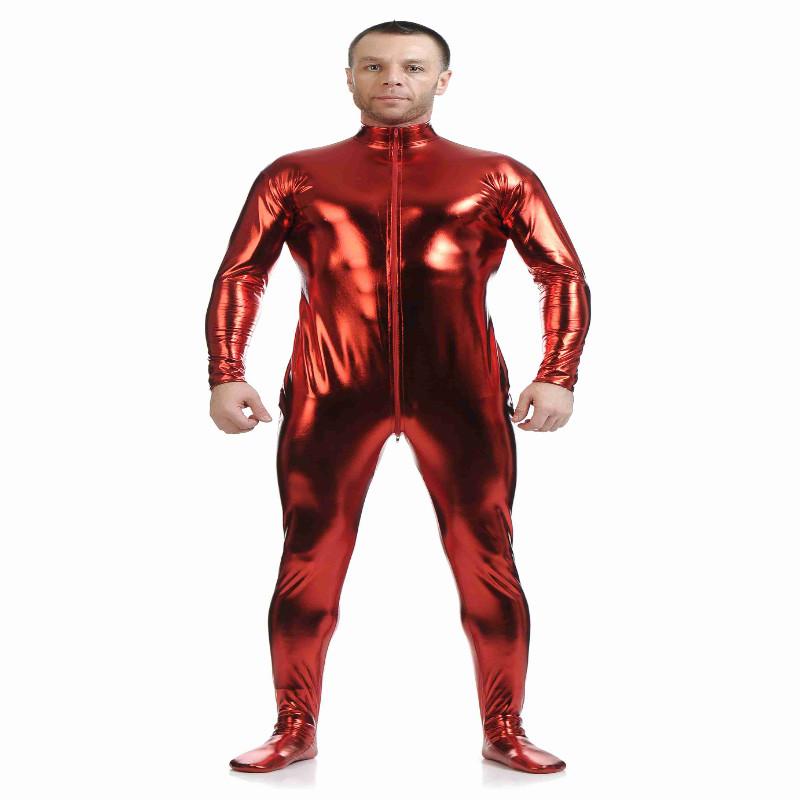 Shiny Spandex Full Body Suit Second Skin Bodysuit Zentai Unitard Red M
