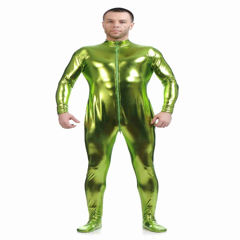 Shiny Spandex Full Body Suit Second Skin Bodysuit Zentai Unitard Green M