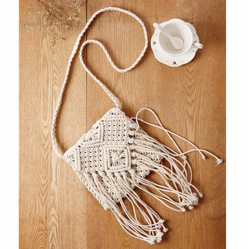 Women Hollow Out Crochet Tassels Cross-Body Bag Rattan Shoulder Bag White