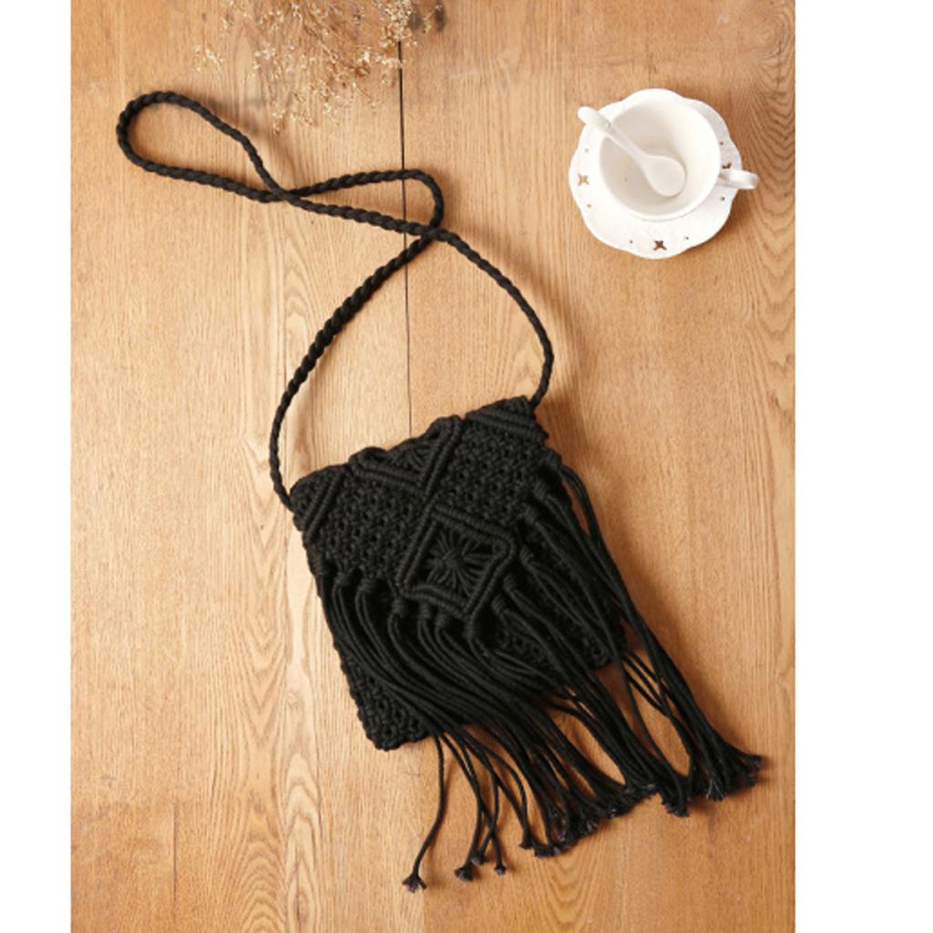 Womens Hollow Out Crochet Tassels Cross-Body Bag Rattan Shoulder Bag Black