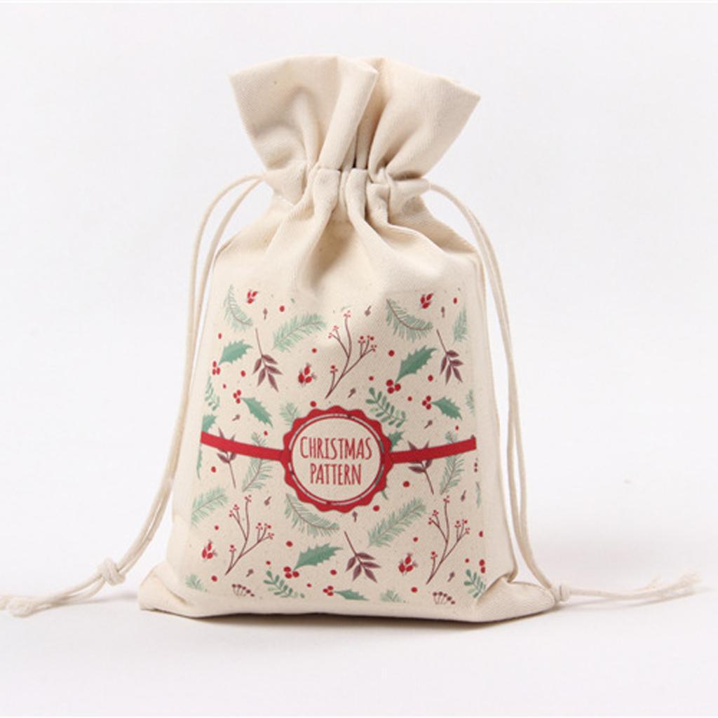 Canvas Storage Bags Christmas Drawstring Gift Candy Pockets Bag #3