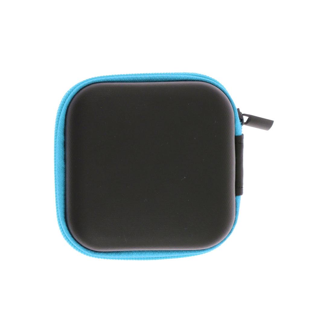 Mini Box Case Storage Bag Pouch for Earphone Headphone Headset Earbuds Blue