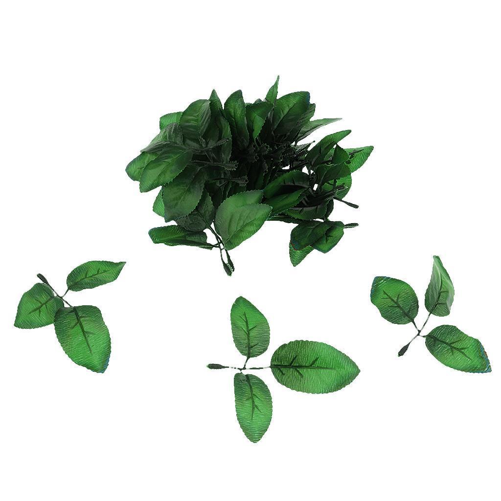 50 Springs Leaves Artificial Silk Green Leaf Wedding Buttonhole DIY Type 3