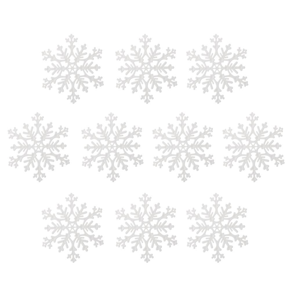 10x 10.5cm White Plastic Snowflake for Christmas Ornaments