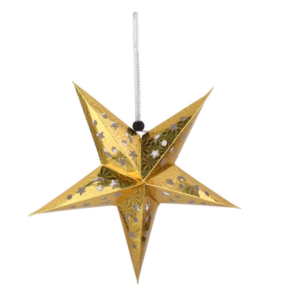 2017 Xmas String Hanging Star Christmas Tree Decor Ornament 40cm Gold