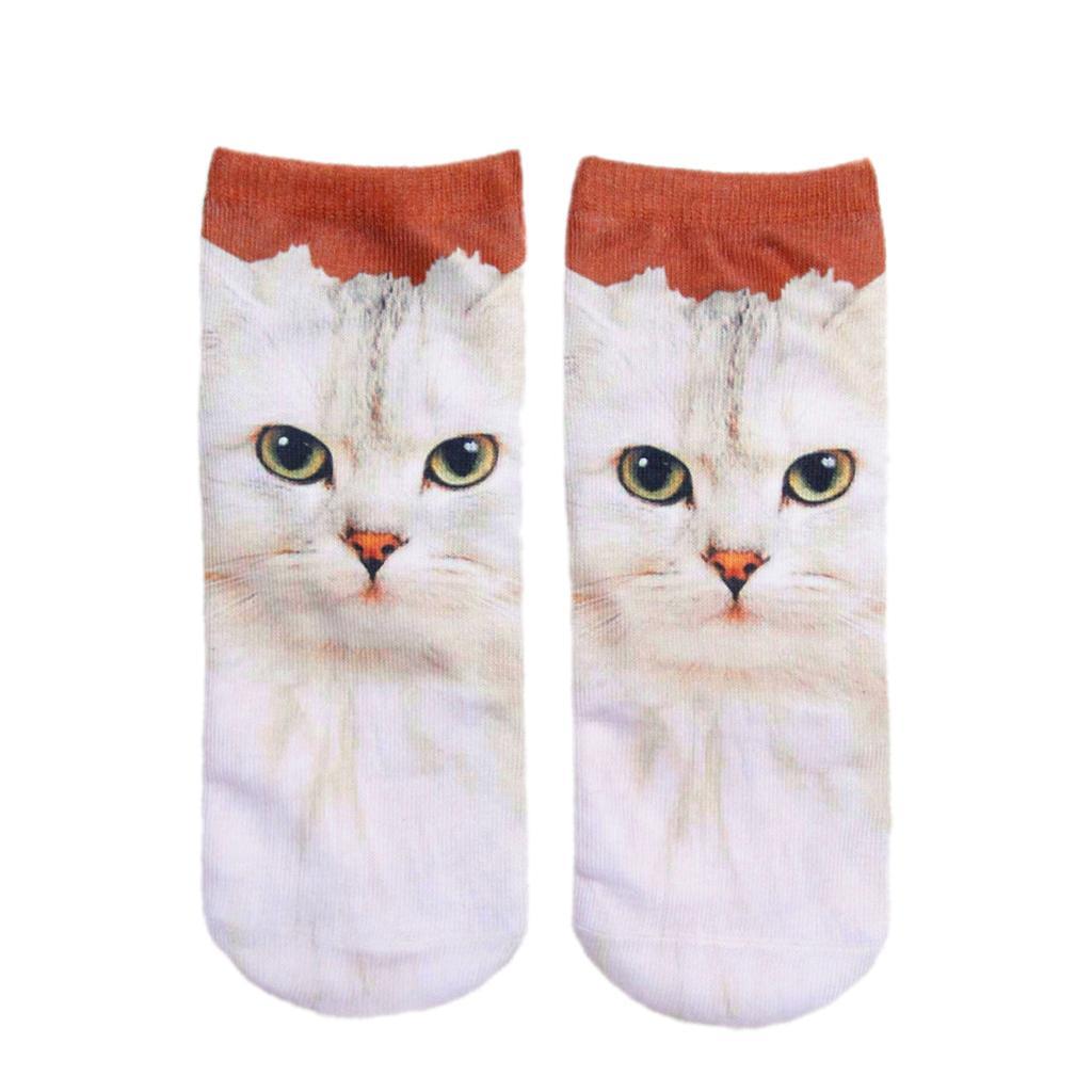 Pair of Cute 3D Cat Print Socks 3D Animal Ankle Socks for Women 2