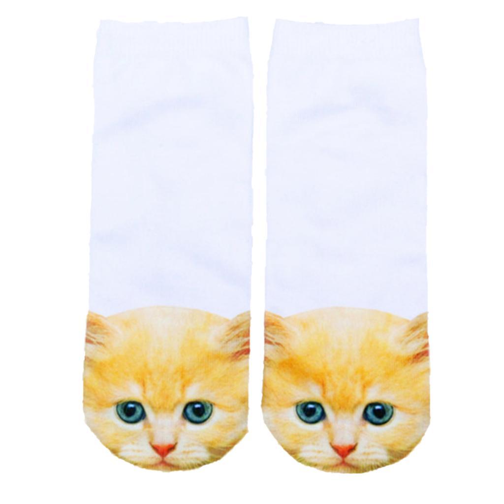 Pair of Cute 3D Cat Print Socks 3D Animal Ankle Socks for Women 6