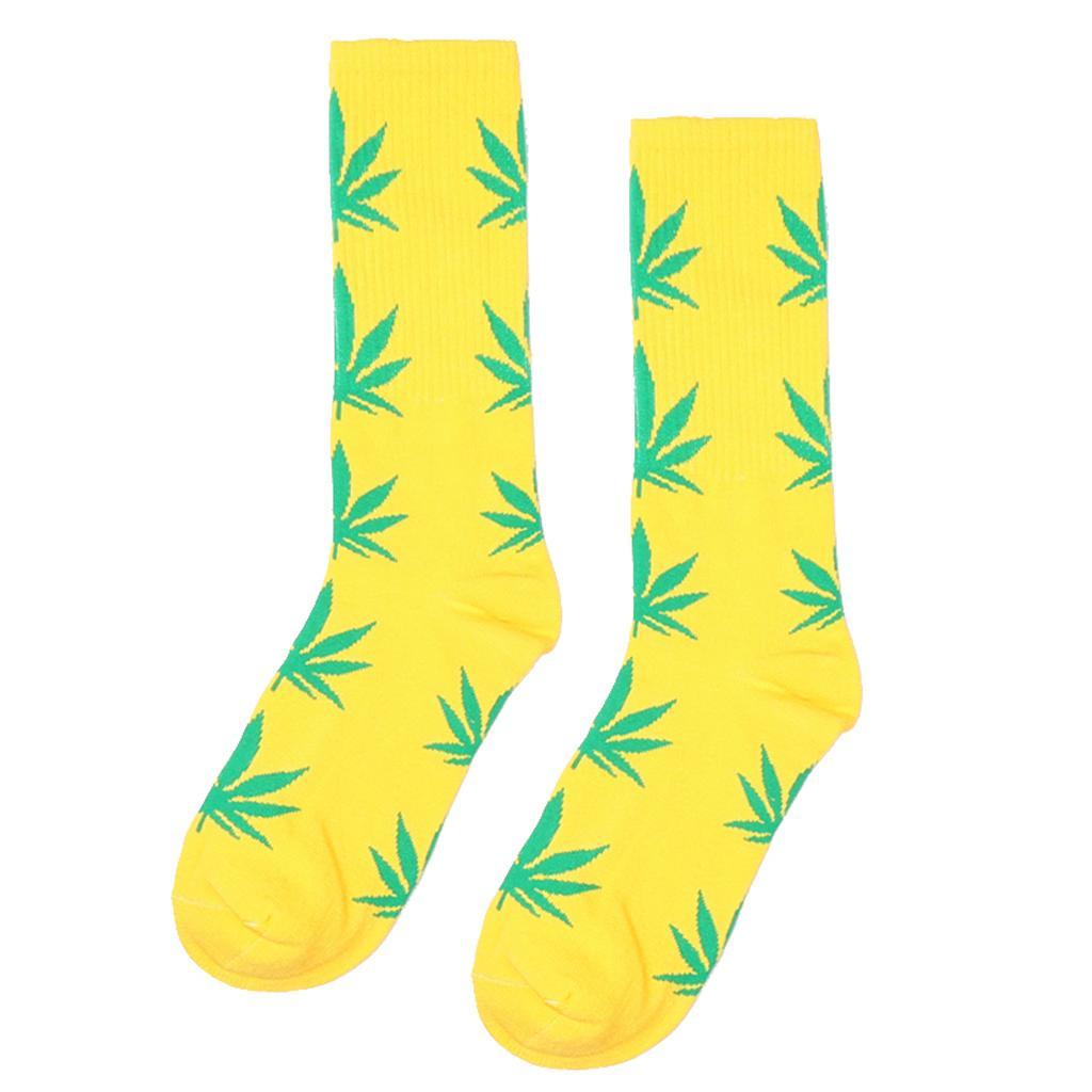 Pair of Men Women Maple Leaf Mid Calf Athletic Socks Yellow