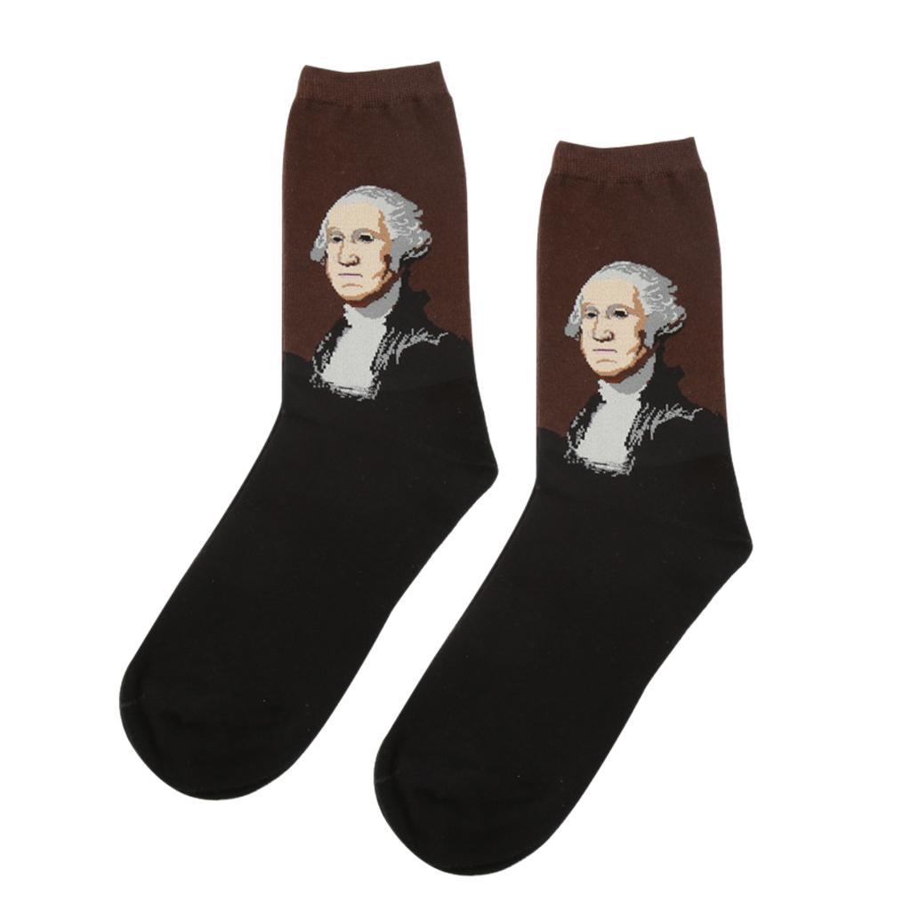 Men's Classical Painting Crew Socks Casual Mid-calf Length Socks #5
