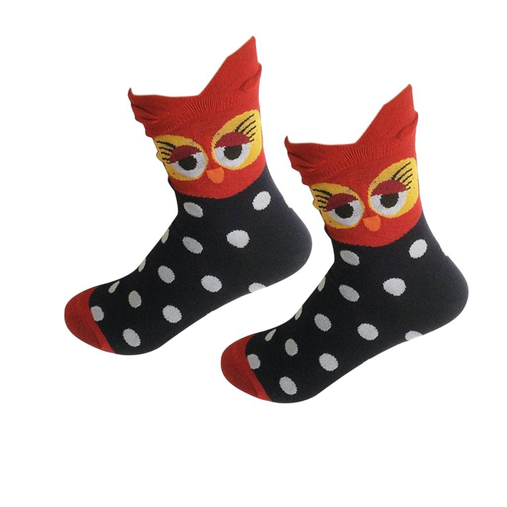 Women's Girl's Mid-Calf Socks Cartoon Soft 3D Owl Print Cotton Socks Red