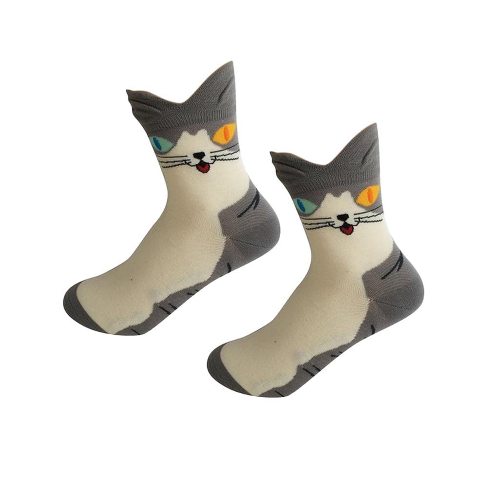 Women Girls Mid-Calf Socks Cartoon Soft 3D Cat Print Cotton Socks Gray