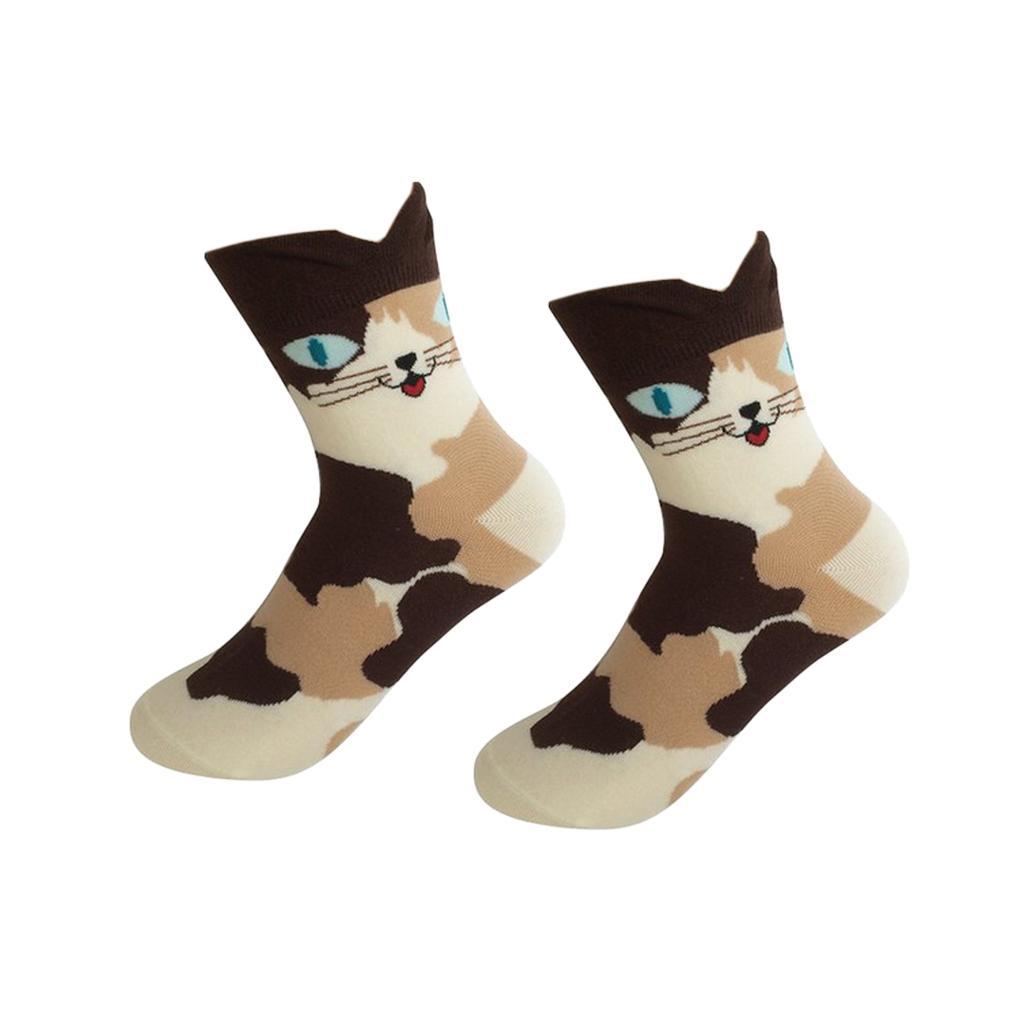 Women Girls Mid-Calf Socks Cartoon Soft 3D Cat Print Cotton Socks Brown