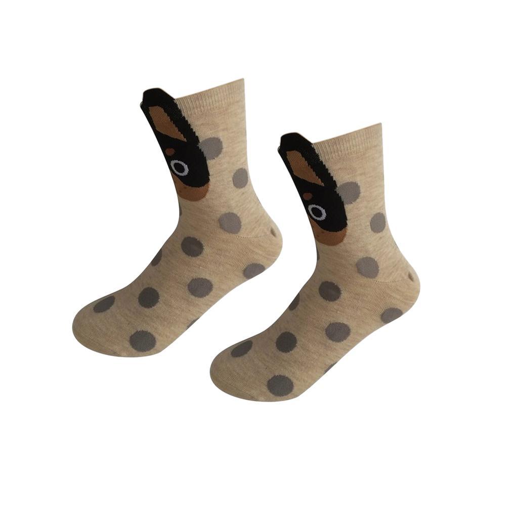 Women Girls Mid-Calf Socks Cartoon Soft 3D Dots Dog Print Cotton Socks White