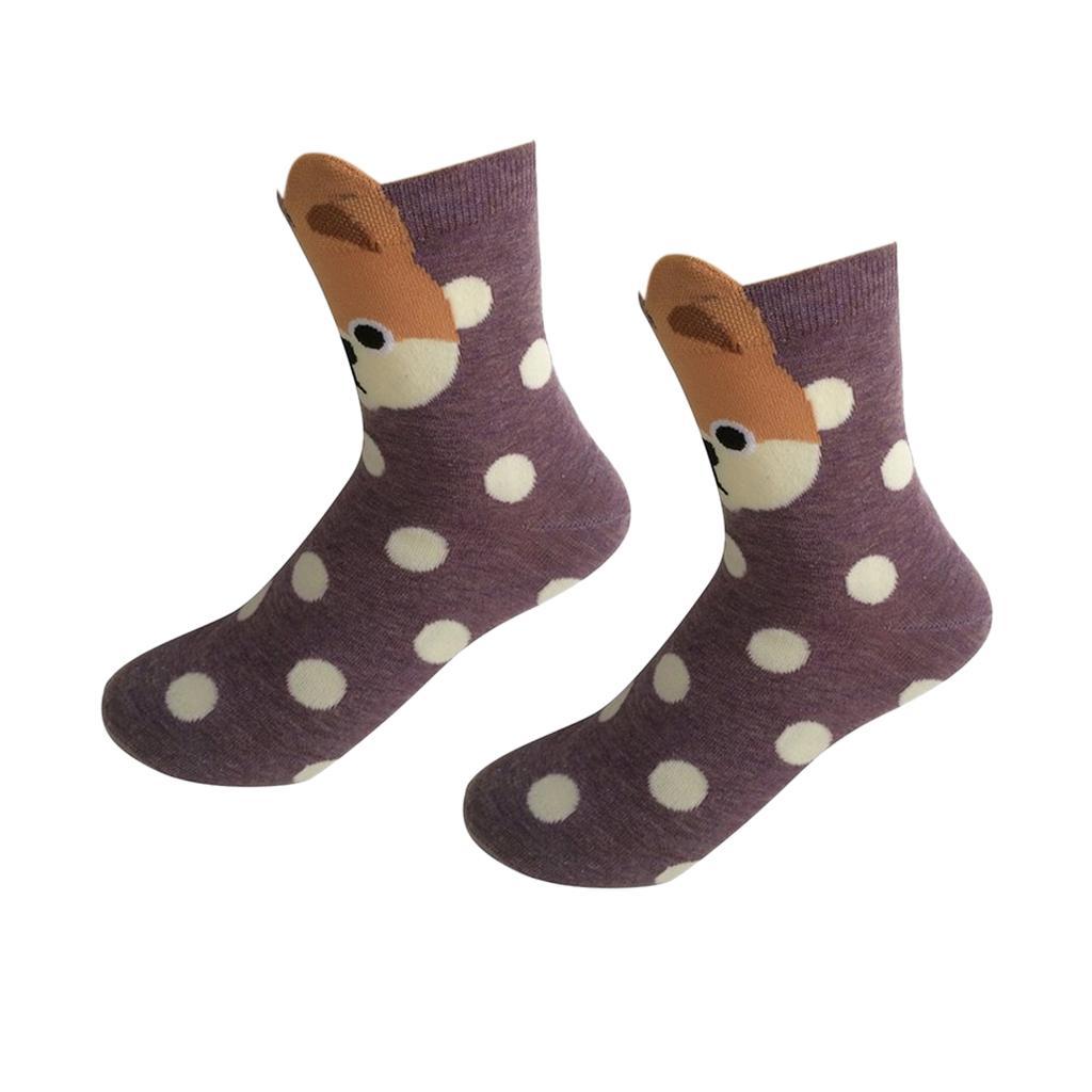 Women's Mid-Calf Socks Cartoon Soft 3D Dots Dog Print Cotton Socks Purple