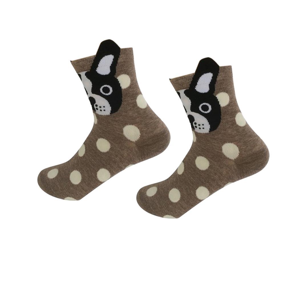 Women Girls Mid-Calf Socks Cartoon Soft 3D Dots Dog Print Cotton Socks Brown