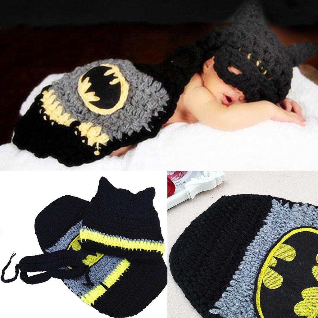 Manual Crochet knitting Conjoined Batman baby Hats Photo Props Clothing Sets