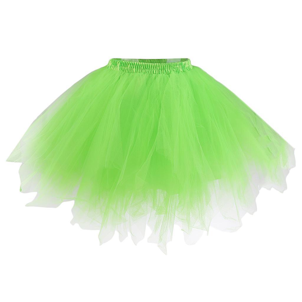 Women Adult Tutu Skirt Ballet Princess Fancy Party Petticoat Pettiskirt Green