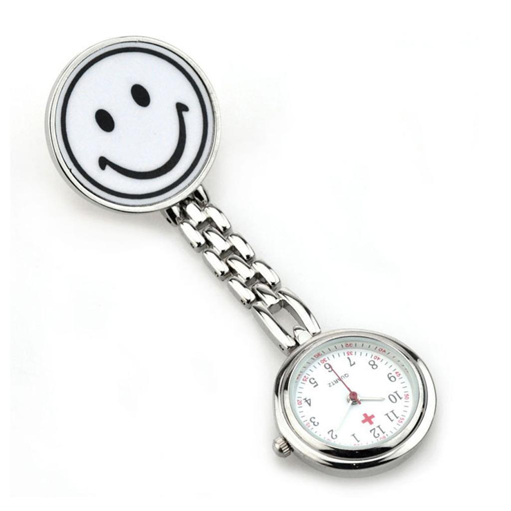 Nurse Pocket Watch Quartz With Smile Face Clip Brooch Pendant Silver White