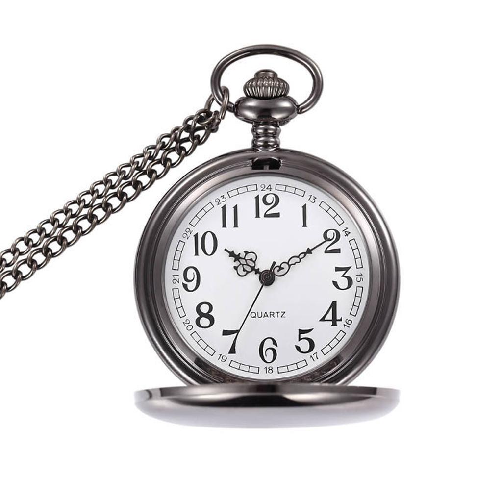 Alloy Round Dial Quartz Analog Necklace Pocket Watch Gift Black Antique