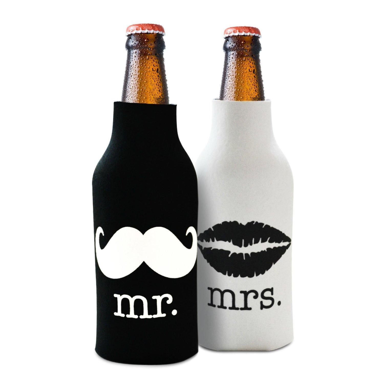 2pcs Beer Bottle Cooler Sleeve Wrap Zip Holder Wedding Favor Mr. Mrs.