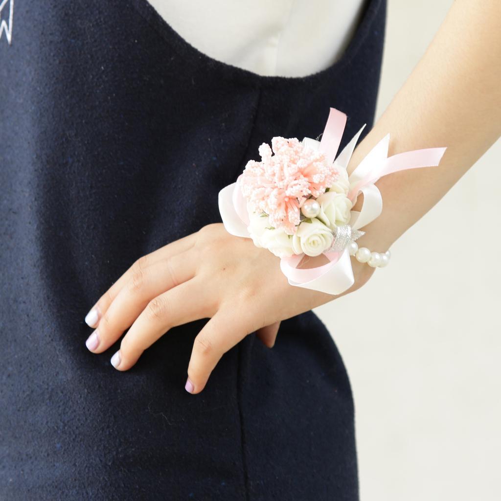 Wedding Bridal Bridesmaid Wrist Corsage Pink Pearl Bracelet Hand Flower