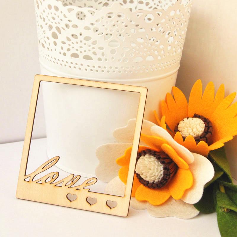 10pcs LOVE Wood Photo Frame Wooden Craft Shapes Craft Supplies Cutouts DIY