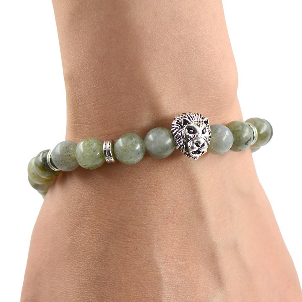 Mens Tibetan Silver 3D Lion Head Spacer bead Charm Bracelet Gray Labradorite