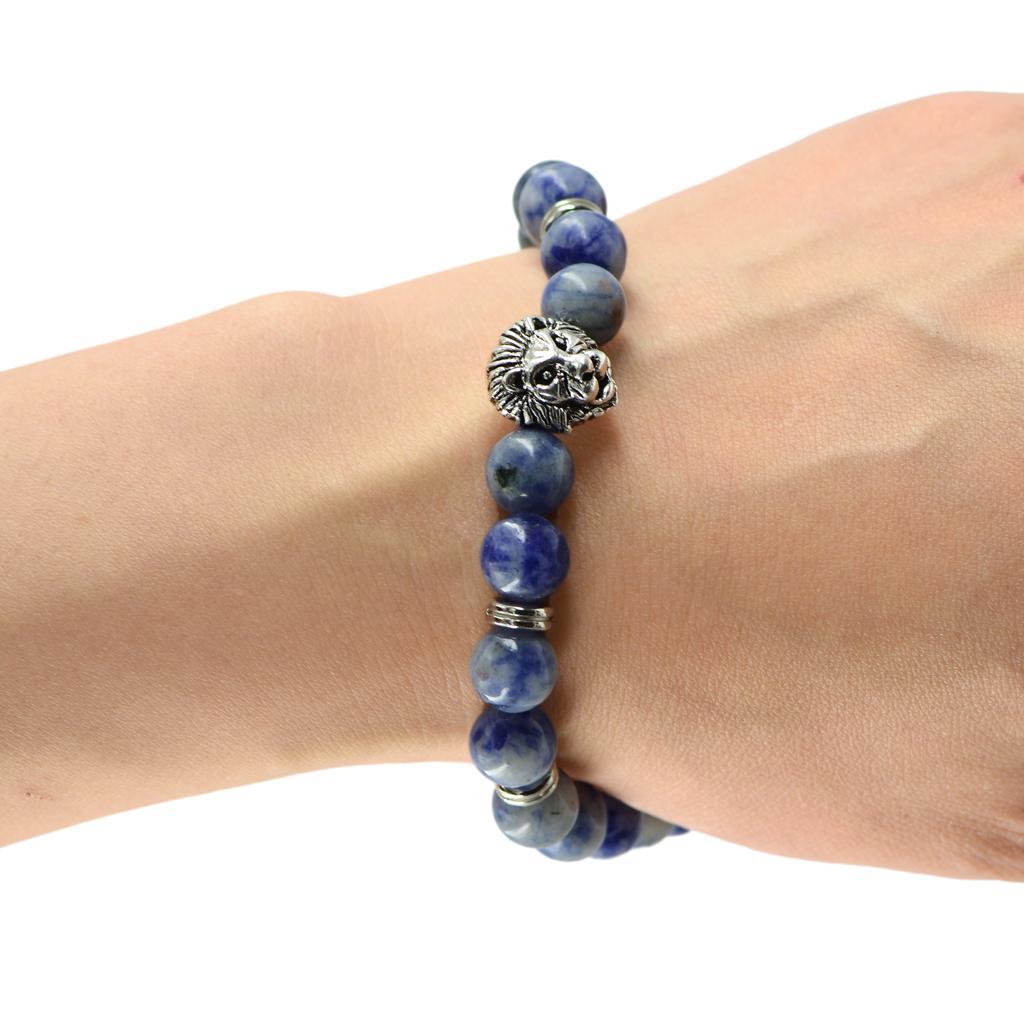 Mens Tibetan Silver 3D Lion Head Spacer bead Charm Bracelet Blue Spot Jasper